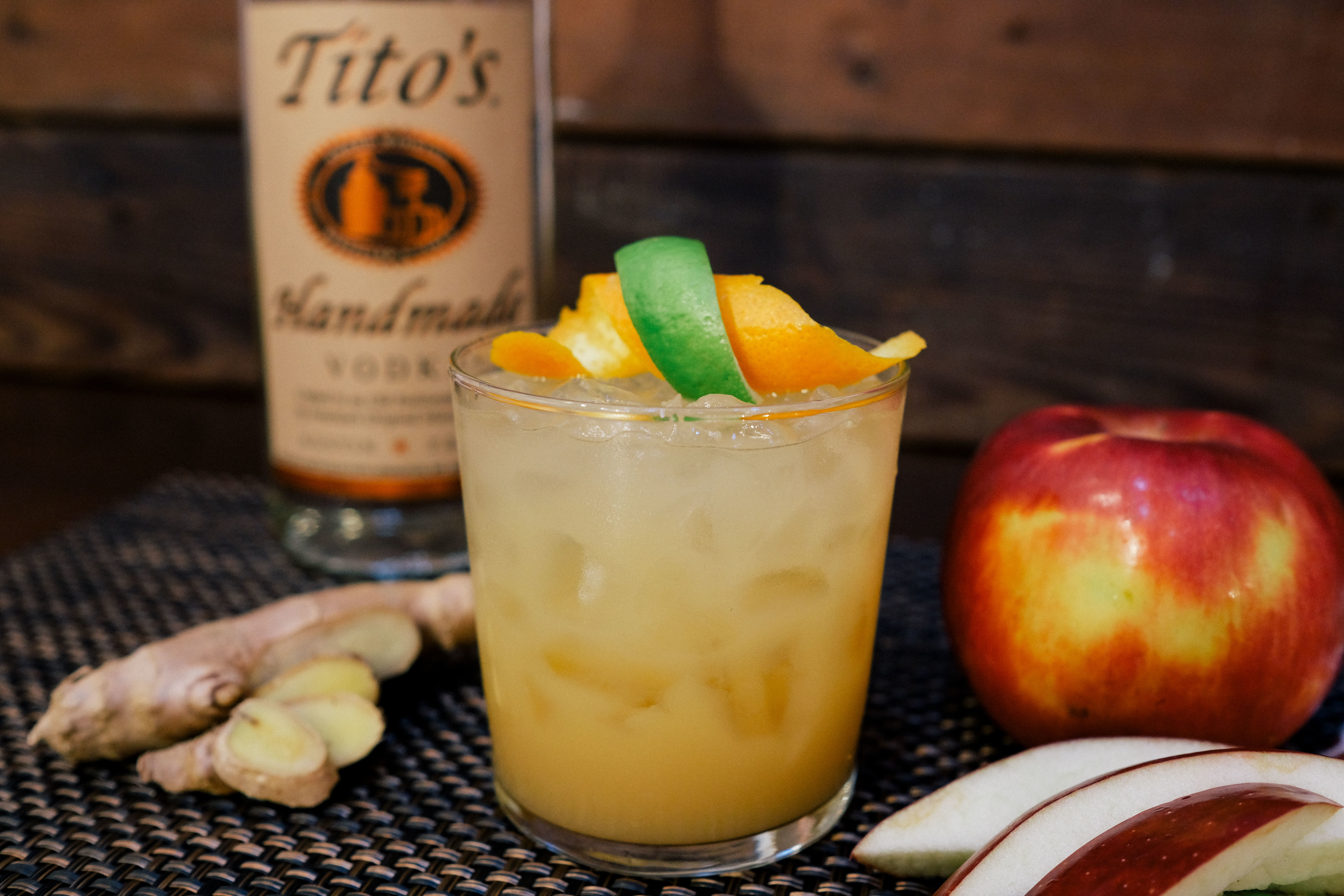 Tito's Vodka with ginger, apple, and lime cocktail