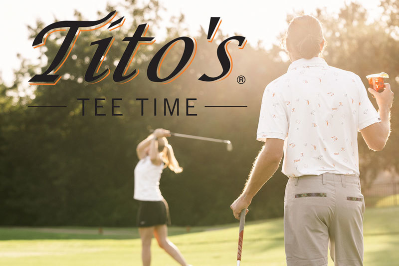 Man and Woman golfing and holding a Tito's Vodka cocktail