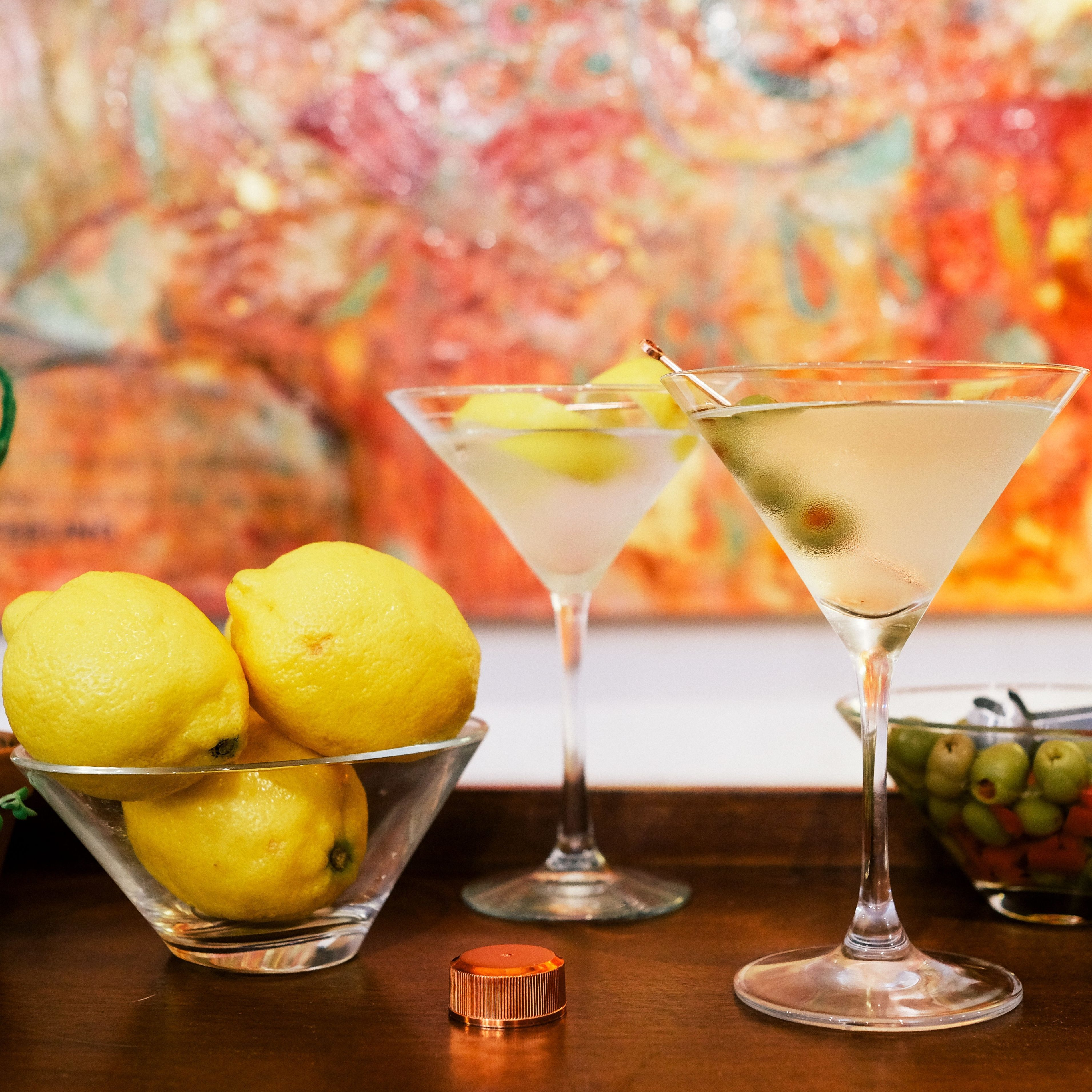 Tito's Vodka Martinis with lemons and olives