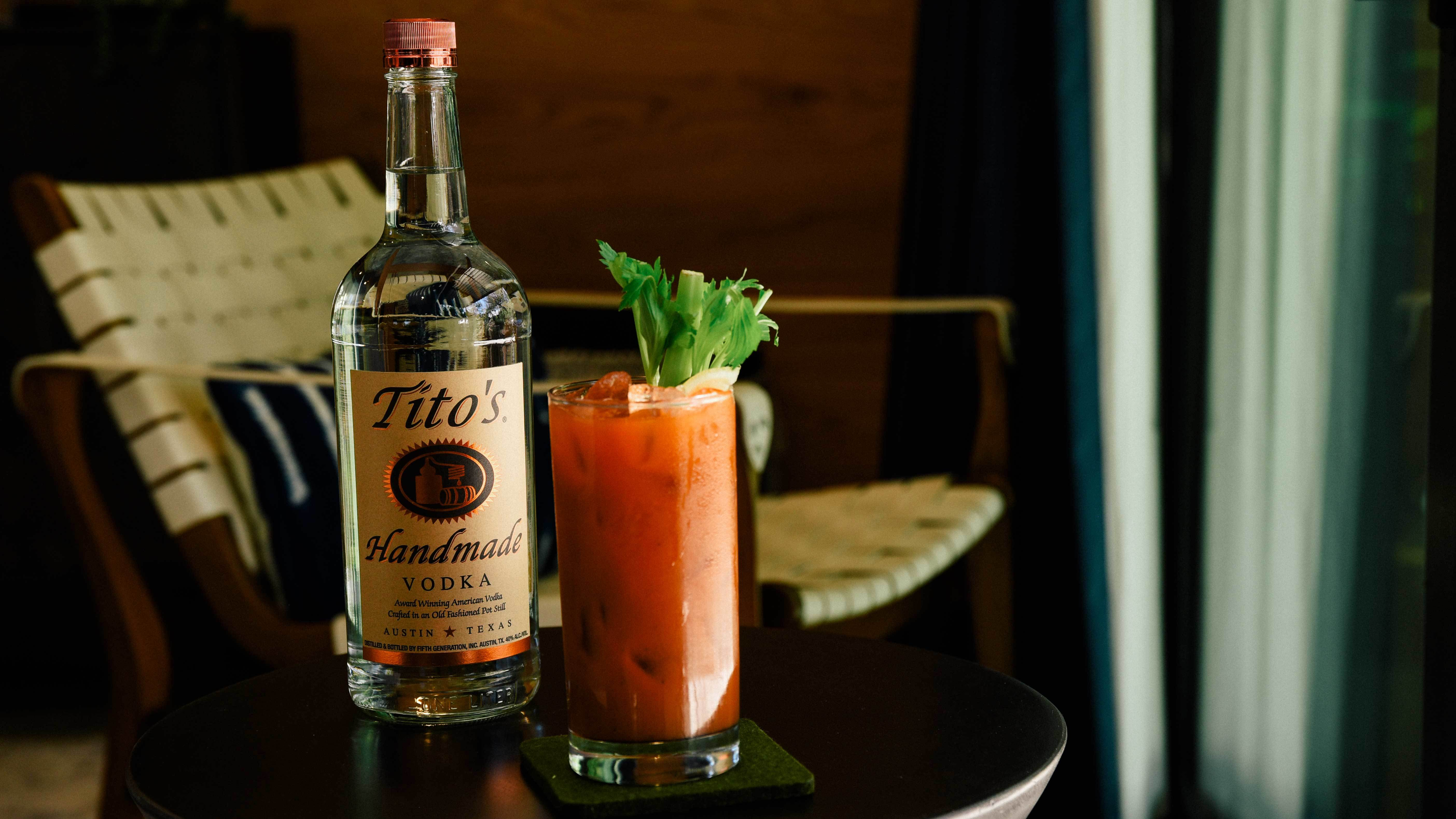 Tito's Cucumber Bloody Mary garnished with celery