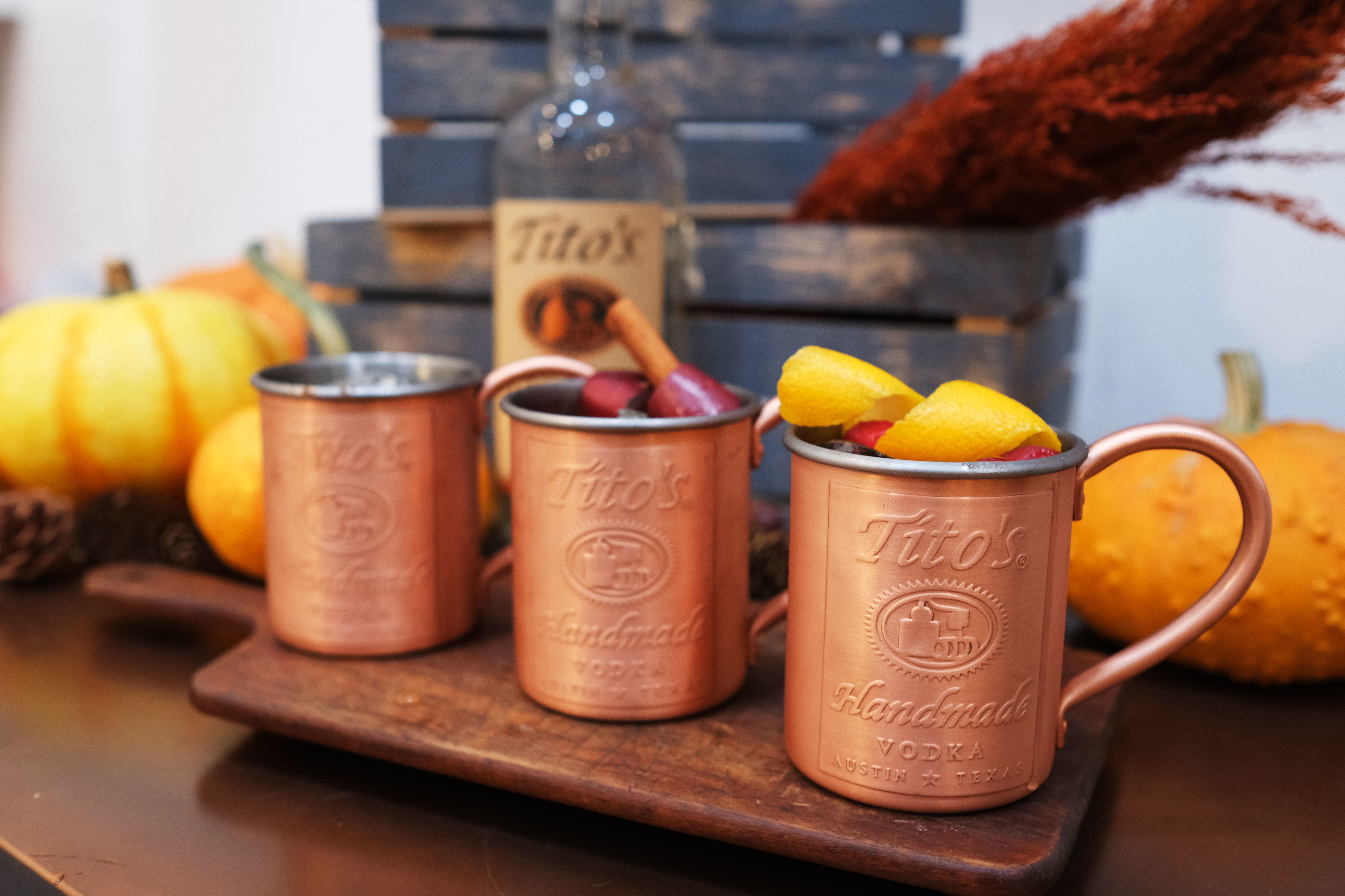 Tito's Vodka Moscow Mule with berries and lemon