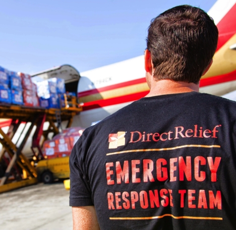 Direct Relief Volunteer With Direct Relief T-Shirt