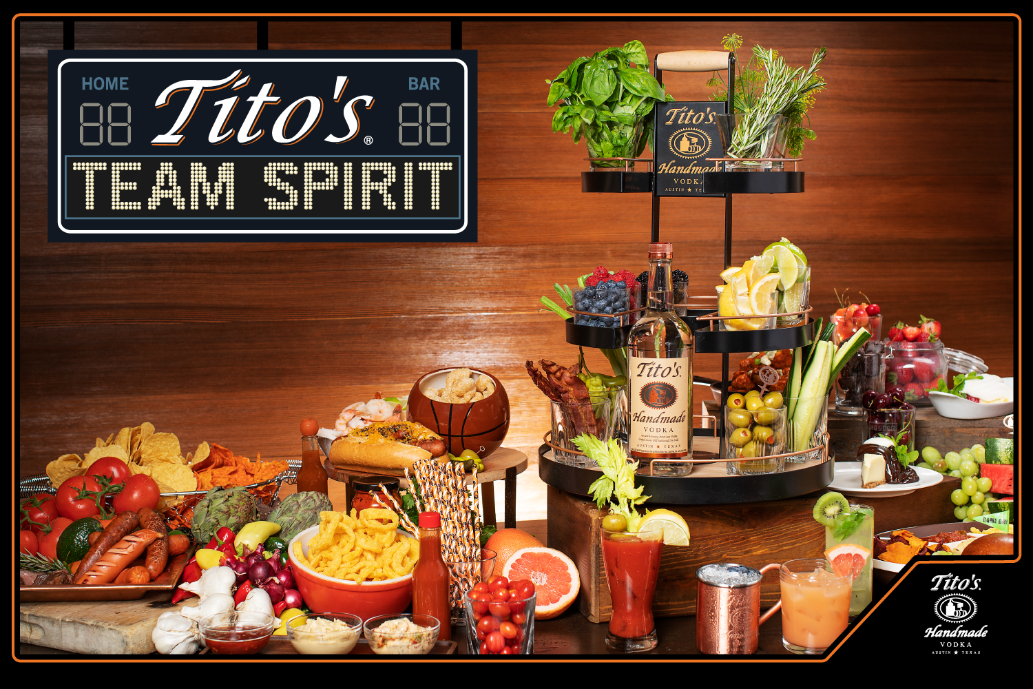 Tito's Lazy Boozin' stocked with garnishes surrounded by snacks