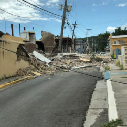 Street and building destroyed by earthquake