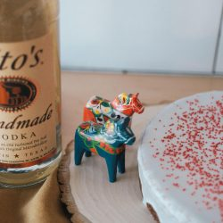 Tito's Vodka Bottle With Swedish Gingerbread Cake