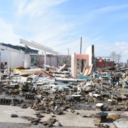 Building debris from tornado destruction