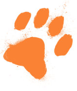 Orange dog paw print illustration